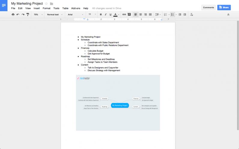 MindMeister Add-on for Google Docs
