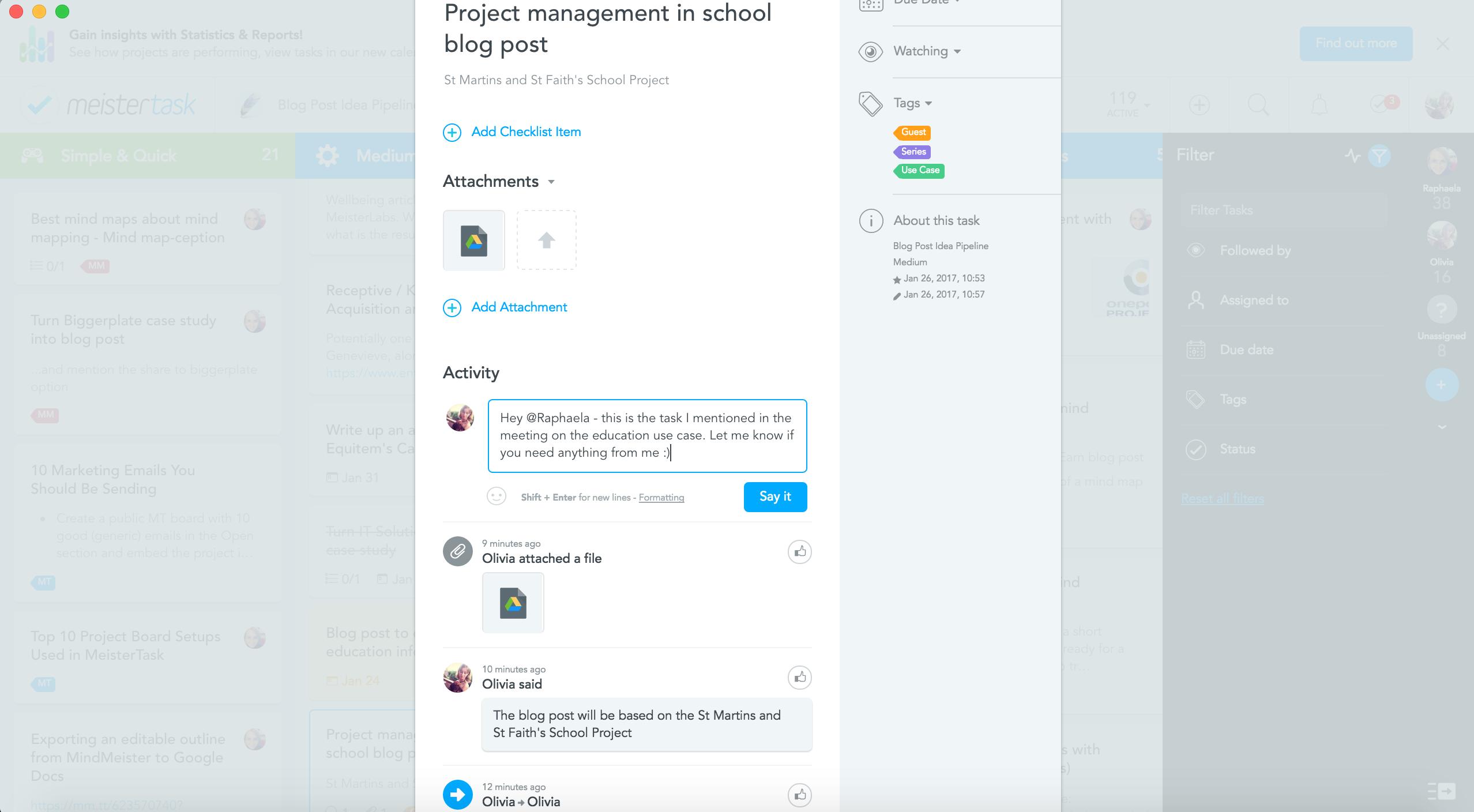 communicate with team members via the task on MeisterTask
