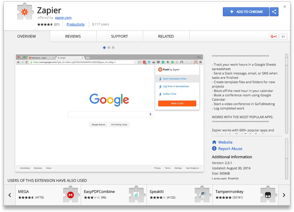 Get Zapier from the Google Chrome Web Store